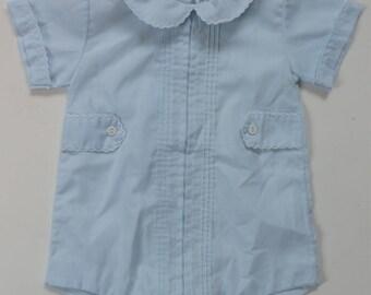 vintage Alexis Baby Boy Blue Romper onesie NB