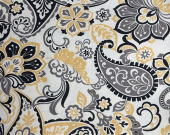 Yellow Grey White Black Paisley Floral Cotton Duck Fabric by the yard