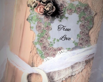 Rustic Peach/ Gold / woodland boho wedding Guest book / Journal