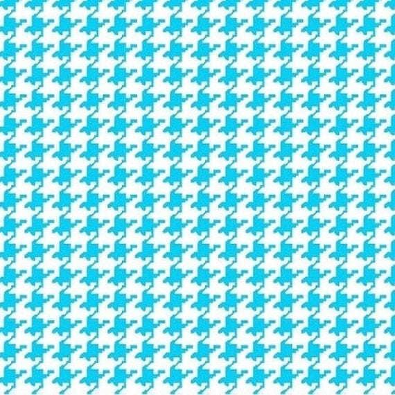 Houndstooth fabric,Turquoise and white houndstooth fabric,Aqua Houndstooth,100% cotton,Quilt,Apparel,Craft,Sold by FAT QUARTER INCREMENTS