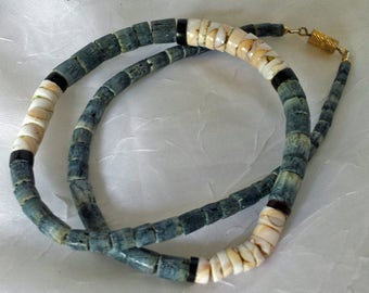 Vintage / Handmade Heishi Bead Choker  Natural and Ombre Dyed Shell  Masculine or Feminine for Everyone 1970s Beach Permanent Vacation Gift