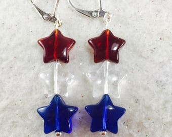 4th of July Earrings, Fourth of July Earrings, 4th of July Jewelry, Red White and Blue Earrings, Crystal Star Earrings, Patriotic Earrings