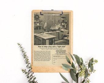 Home Paneling Ad • Wood Paneling • Vintage Study Photo • Oak Paneling • Weldwood Charter Plywood • Construction Materials • Wood Worker Gift