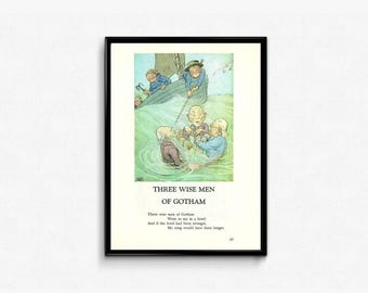 Three Wise Men of Gotham • Vintage Fairy Tale Nursery Rhyme • Three Sailors of Gotham • Mother Goose Nursery Rhyme • Rustic Baby Room Decor