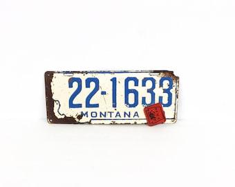 Antique automobile license plate, Vintage Montana license plate, 1943 auto license, Distressed metal license plate, Man cave wall decor