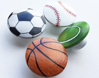 Sports Balls Drawer Pulls (large) / Dresser Knobs / Closet Handles / Hand Painted for Kids Nursery Rooms (Assorted Background)