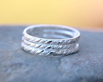FLORAL STACKING RINGS - Sterling Silver Stacking Rings - thin stacking rings - stacking rings - modern minimalist jewelry