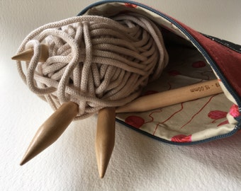Red Canvas Knitting Project Bag, Tool Bag, Sheep Print