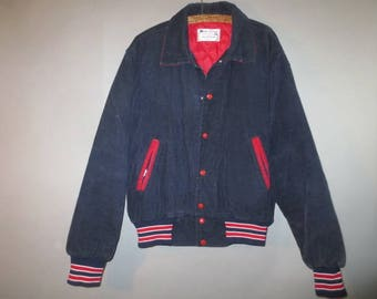 Corduroy Bomber Jacket, WEST WIND // Red Quilted Lining, Snap Front, Dark Blue, Red, Knit Cuffs...XL