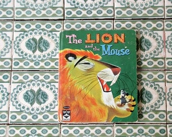 The Lion and the Mouse Book, Vintage Green Hardcover Storybook, 1961 Mabel Watts Whitman Publishing Collectible Kids Childs Childrens Book