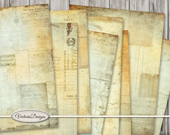Shabby Ephemera Paper Pack printable 8.5 x 11 inch blue paper crafting scrapbooking instant download digital collage sheet - VDPAEP1518