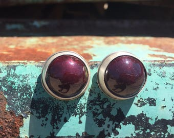 Orb Earrings. Enameled Round Dome Cabochon Bezel Set Large Statement Stud Earrings