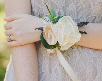 Flower Corsage | Wedding Corsage | Peony Corsage | Gift for Mother | Corsage Wristlet | Rustic Corsage | Prom Corsage | Bridal Accessories