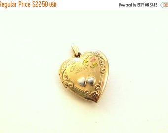 ON SALE Tru-Kay 14KT Gold Filled Heart Locket / Engraved 'I Love You' / Floral Scroll Design / Vintage Locket