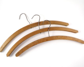 Vintage Heavy Wooden Hangers Wood Coat Clothes Hanger 3 Simple Old Rustic Decor
