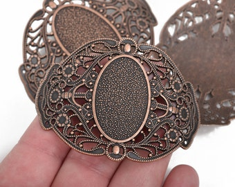 """2 Large Copper Filigree Cuff Bracelet Findings, Sideways Curved Connector Links, Antiqued Copper, 67x51mm, (2-5/8"""" long), chc0082"""