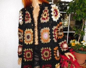 coat jacket handmade crochet granny square lace oversized coat sparkle gift idea for her high fashion coat women clothing by golden yarn