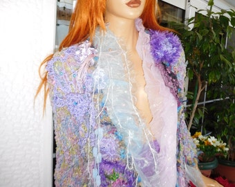coat sweater long cardigan fairy tale beautiful romantic winter OOAK light blue lilac coat handmade knitted and embroidered by golden yarn