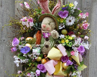 Easter Wreath, Easter Bunny Wreath, Spring Wreath, Whimsical Easter Wreath, Victorian Easter, Designer Easter Wreath, Spring Floral Wreath