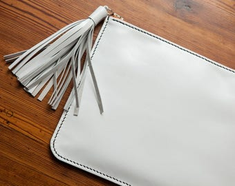 White leather clutch with large tassel, kidskin leather clutch, jacobson leather, hand sewn