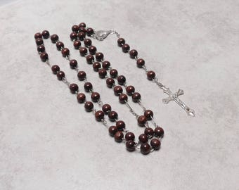 As New Vintage Chocolate Brown Rosary Beads