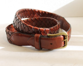 brown leather braided belt size 32