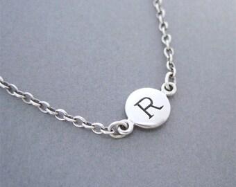 Initial R Bracelet, Letter R Bracelet, Personalized Bracelet, Silver Charm Bracelet, Silver Letter Bracelet