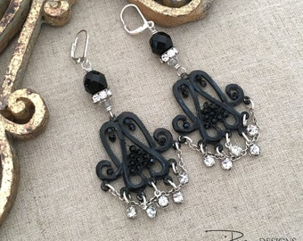 Black BoHo Gypsy Earrings, Assemblage Rhinestone Chandelier Earrings, Bohemian Statement Earrings, Black Rhinestone Earrings, OOAK Jewelry