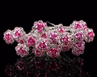 Pink Rose Flower Hair Pin - 20 Pcs