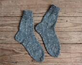 Handmade tweed petrol blue home socks with brown, white and beige details