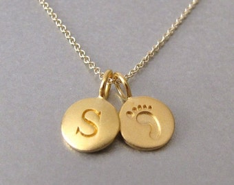 SALE Gold Initial & Baby Foot Print Charm Necklace