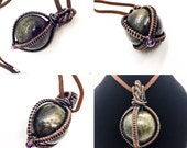 Copper Wire Wrapped Labradorite Orb Necklace