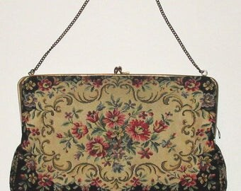 Vintage French Embroidered Tapestry Purse