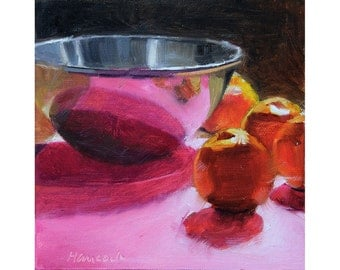 Metal Bowl with Clementine Oranges on Pink, Fruit Still Life, Pink Reflections