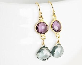 Amethyst and Gray Quartz Earrings, Drop Earrings, Drop Earrings, Gold Fill Earrings, Bridesmaid Gift
