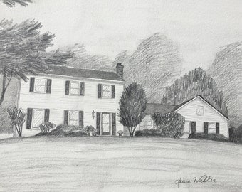 drawing of house custom from photo
