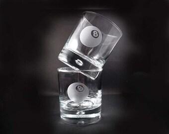 Custom Etched Cocktail Glasses - Billard Glasses - Billard Lover - Set of 4 Hi-Ball Eight Ball Glasses - 8 Ball Glasses - Whiskey Glasses