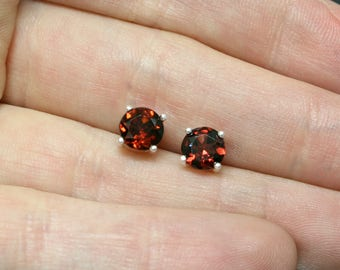 Garnet & Sterling Silver Faceted Stud Earrings - 6mm