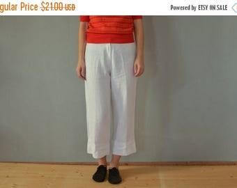 SALE White Linen Pants Vintage 80's wide leg pants