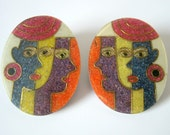 Vintage 80's Four Face Abstract Pierced Earrings