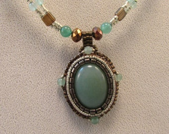 Green Aventurine Bead Embroidered Pendant and Beaded Necklace