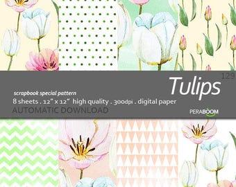 Floral Digital Paper Tulips Pastel Floral Watercolor Pattern flower scrapbook paper Blossom Spring pattern pattern instant download