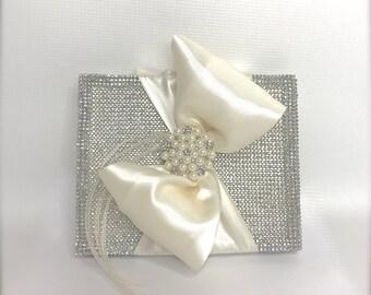 Bride and Groom gift box, Bridesmaids, Bridal Party Bling Gift Box, Rhinestones Satin Pearl Handmade, Decorative Boxes, Baby gift