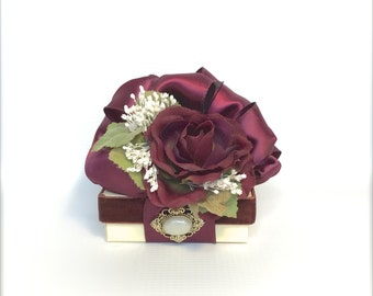 Jewelry Gift Box Deep Burgundy Gift Boxes Wedding vintage styled favor jewelry gift box  elegantly pre-giftwrapped
