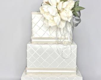 Wedding Card Box Chic Peony Ivory White 3 Tiers Locked Secure Wedding Card Holder Unique Elegant Wedding Card Box Custom Box Handmade Gift