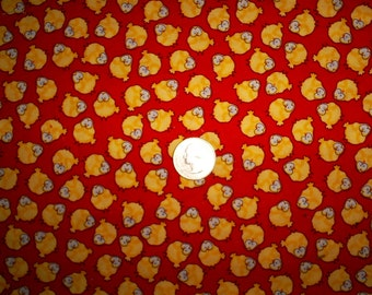 7/8 Yards of Yellow Chicks on Red Cotton Fabric.