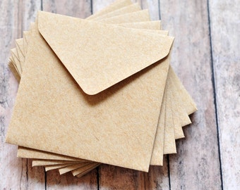 Mini Envelopes - Kraft  // Set of 10 // Love Notes // Packaging // Paper Crafting // Square Envelopes // Gift Card Envelopes
