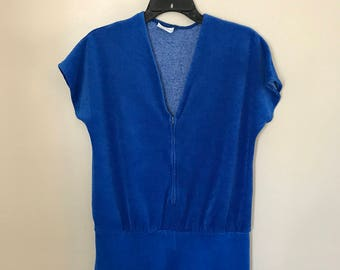 Vintage 70s Blue Terry Cloth Romper Large Vintage Playsuit Swimsuit Cover Up JCPenney