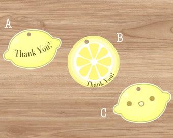 40 Lemon tags, Thank you tags, lemon baby shower theme