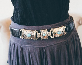 Navajo style belt by WCM , New York black python effect leather, turqoise silver